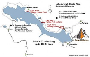 Map of the fishing areas in Lake Arenal Costa Rica